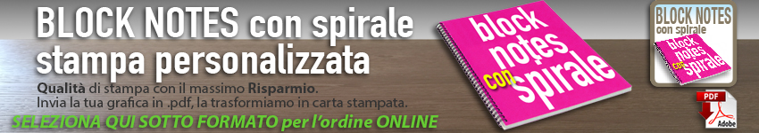 stampa block notes A4 con spirale